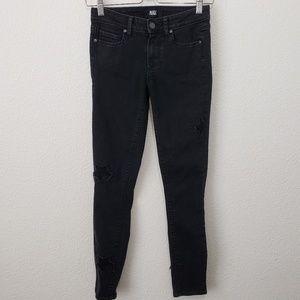 Paige Star Pattern Jeans Black Skinny Leg Size 28